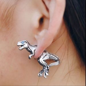 New Gold Colored T-Rex Dinosaur Earrings
